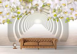 Fototapete 3D, Orhidee albă lângă tunelul arcuit în reflectarea apei