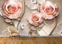 Fototapete 3D, Trandafiri bej pe un fundal argintiu