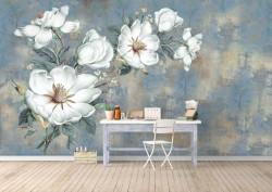 Fototapete, Flori minunate pe un fundal albastru