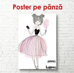 Poster, Fata desenată într-o fustă roz, cu o oglindă în mână
