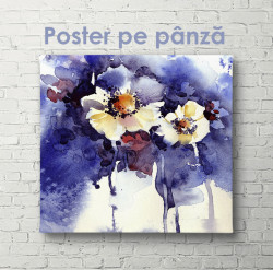 Poster, Flori de violete în acuarelă