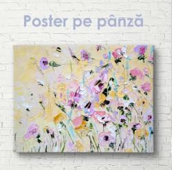 Poster, Pictura unui câmp de flori în vopsele de ulei