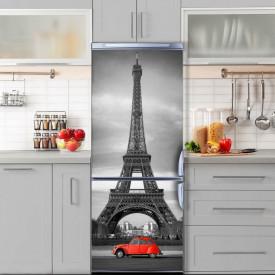 Stickere 3D pentru uși, Mașina roșie în Paris, 1 foaie de 80 x 200 cm