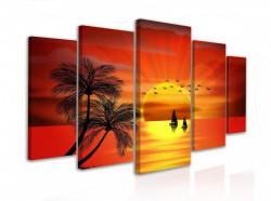 Tablou modular, Apus portocaliu lângă mare