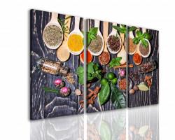 Tablou modular, Condimente multicolore pe o masă de lemn