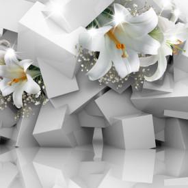 Fototapet 3D, Crini albi pe un fundal 3D gri