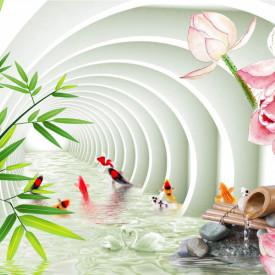Fototapet 3D, Tunel arcuit cu flori de lotus și ramuri de bambus
