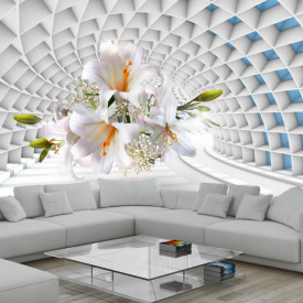 Fototapet 3D, Un crin alb pe fundalul unui tunnel albastru