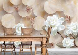 Fototapet Botanica, Flori albe și fluturi pe un fundal 3D