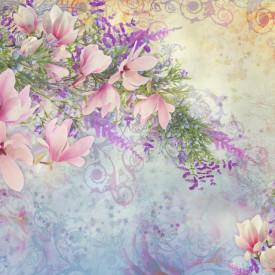 Fototapet Botanica, Flori de primavara pe fundal de liliac.