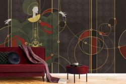 Fototapet, Fată abstractă cu elemente aurii