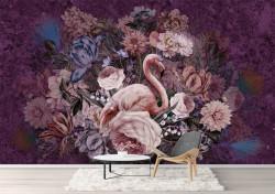 Fototapet, Flamingo și flori 2