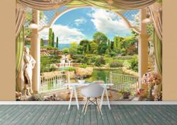 Fototapet Fresco, Vederea din fereastră pe grădina verde lângă un lac