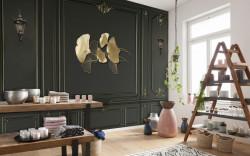 Fototapet, Frunze de aur pe un fundal de perete negru