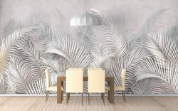 Fototapet, Frunze de palmier albe pe un fundal alb