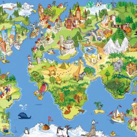 Fototapet, Harta lumii colorată pentru copii
