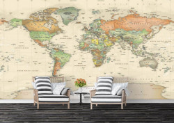 Fototapet, Harta lumii pe fundalul bej