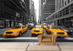 Fototapet, Mașini galbene într-un oraș gri