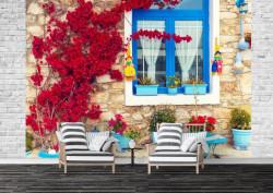 Fototapet, O casă și flori roșii