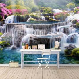 Fototapet, O cascadă minunată cu apă albastră