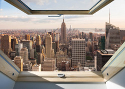 Fototapet, O fereastră cu Priveliște la zgâre-nori