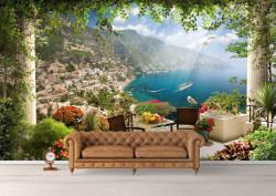 Fototapet, O terasă cu o Priveliște frumoasă spre lac
