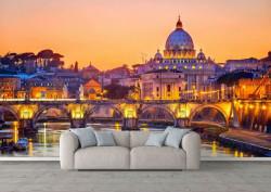 Fototapet Orase, Fotoatepete cu un oraș frumos pe apă la apusul soarelui