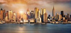 Fototapet, Orașul frumos la apusul soarelui
