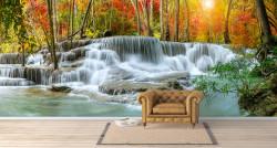 Fototapet, Panorama unei cascade uimitoare în pădure
