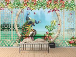 Fototapet, Păuni și gard viu cu flori