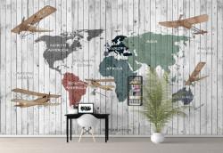 Fototapet Pentru Copii, Harta lumii pe un perete din lemn