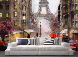 Fototapet, Pictură cu Turnul Eiffel