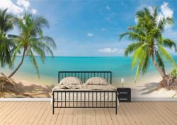 Fototapet, Priveliștea la plajă și palmieri