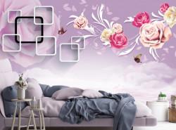 Fototapet, Trandafiri pe un fundal violet
