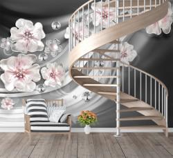 Fototapet, Traseu de flori delicate pe un fundal gri
