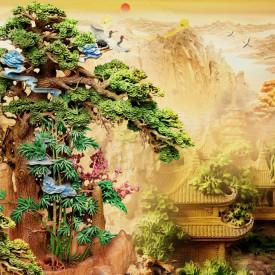 Fototapet, Un parc chinezesc cu copac verde