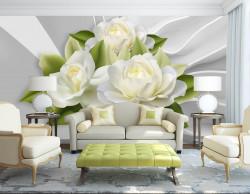 Fototapete 3D, Flori albe pe un fundal de perete.