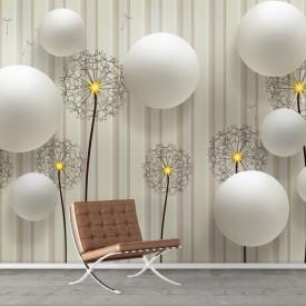 Fototapete 3D, Păpadii și perle albe pe un fudal în dungi