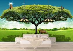 Fototapete, Copac verde pe fundalul cerului