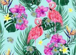 Fototapete, Flamingo roz pe fundal albastru