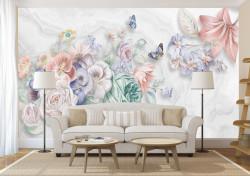 Fototapete, Flori de primăvară tandre pe un fundal alb