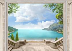 Fototapete, O fereastră deschisa cu vedere la mare.