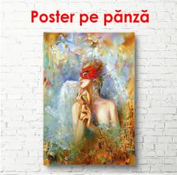 Poster, Fata cu o mască roșie pe față