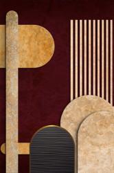 Poster, Fundalul în nuanțe albastru și auriu