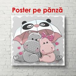 Poster, Hipopotami gri și roz sub o umbrelă