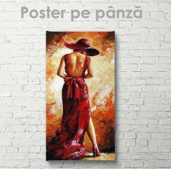 Poster, Lady în rochie roșie cu bant