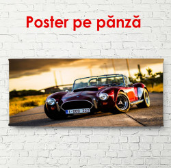 Poster, Mașină roșie pe drum la apusul soarelui