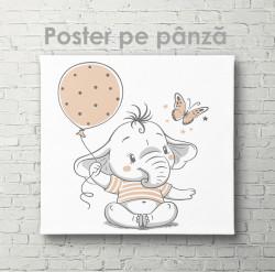 Poster, Pui de elefant cu fluturaș și minge