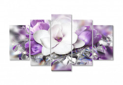 Tablou modular, Floarea albă pe fundalul purpuriu