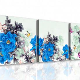 Tablou modular, Flori albastre pe un fundal cenușiu abstract